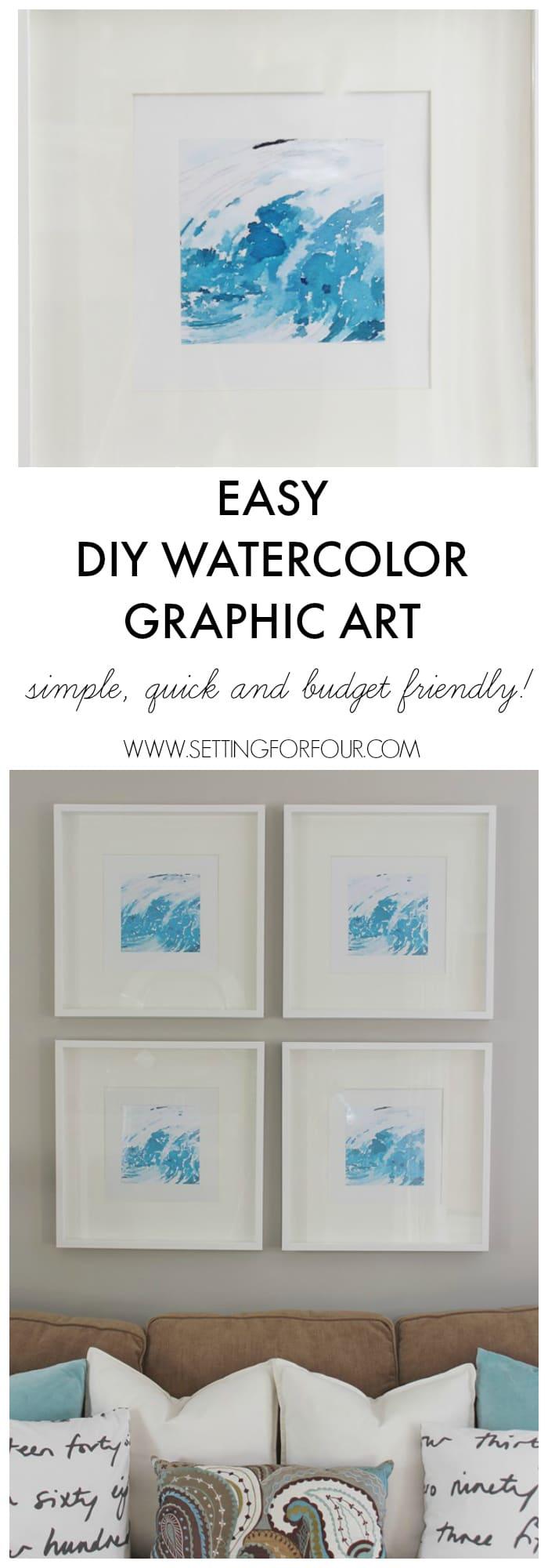 Easy DIY Watercolor Graphic Wall Art | www.settingforfour.com
