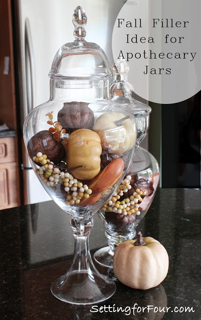 Beautiful apothecary Jar Filler ideas for fall and halloween! www.settingforfour.com