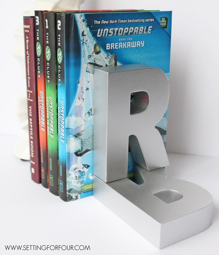 So Easy to make! $3.00 Monogram DIY Book Ends - great gift idea!