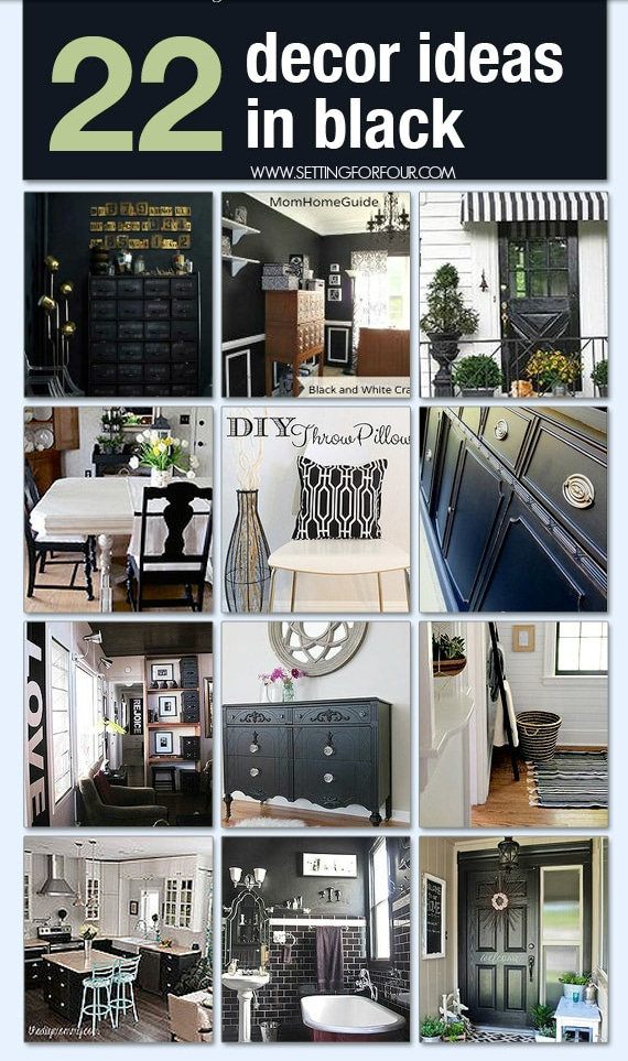See these 22 Stylish DIY Decor Ideas in Black! Adding black to a room will add amazing contrast and interest! #black #decor #home #interiordesign #decorideas