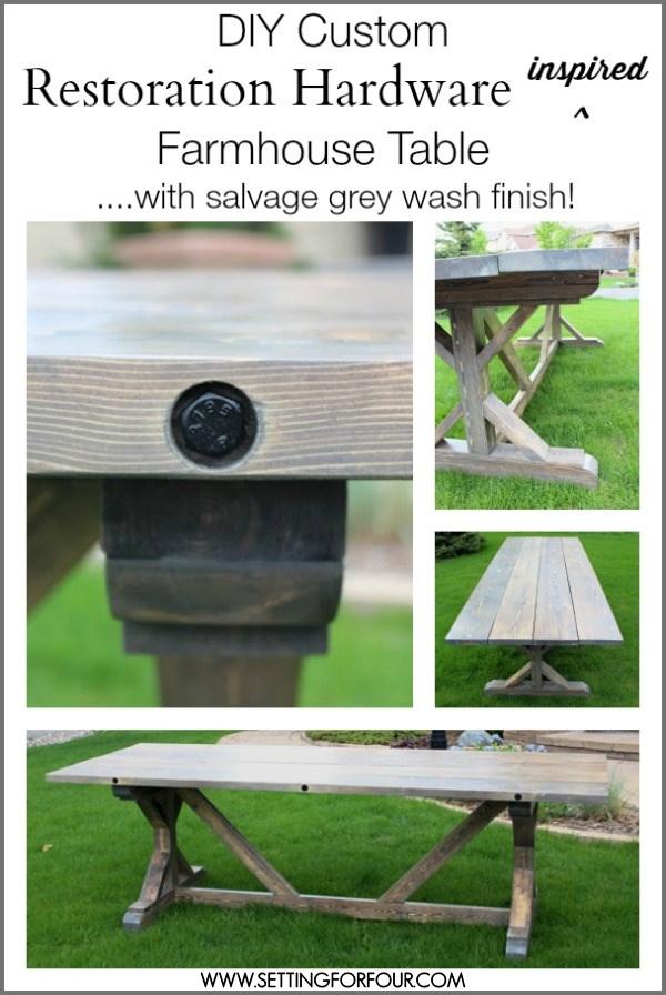 DIY Restoration Hardware Inspired Farmhouse Table | www.settingforfour.com