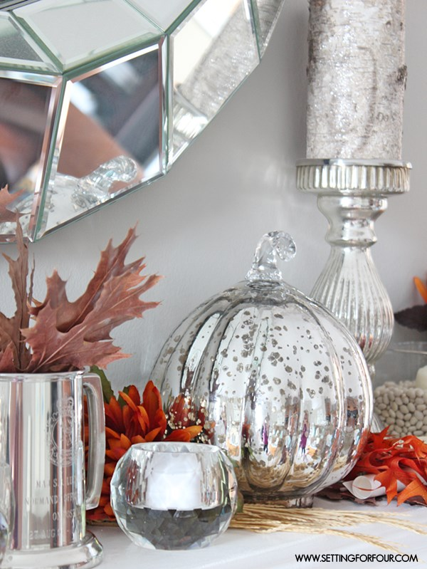 Fall Mantel Decor Ideas - see how I decorated my mantel for fall! | www.settingforfour.com