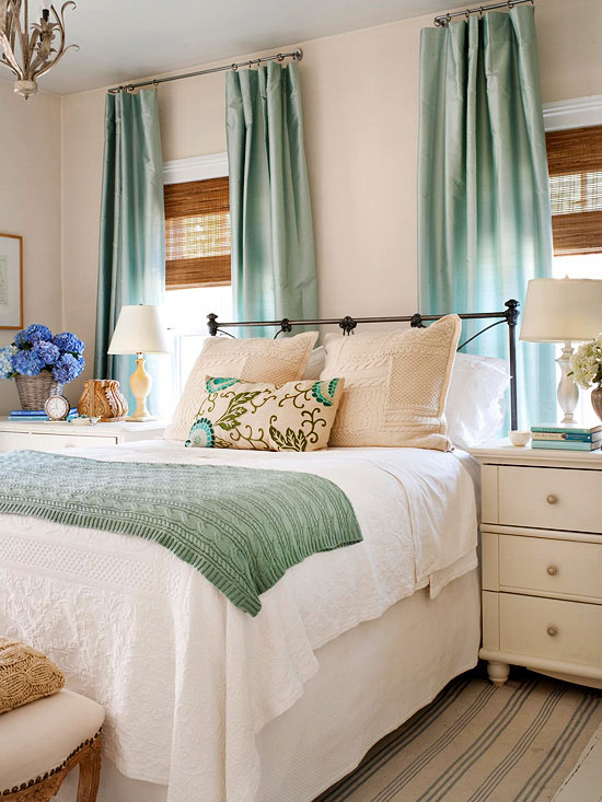 Dreamy Bedroom in blue-green, carmel and white colors.
