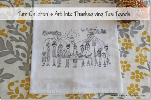This is the cutest Fall kids craft idea! How to turn kids art into tea towels for Thanksgiving. What a fun DIY project to do with the kids! These tea towels make memorable gifts for family and grandparents. Cheery home decor for your kitchen!
