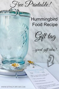 Free Printable | Hummingbird Food Recipe Gift Tag