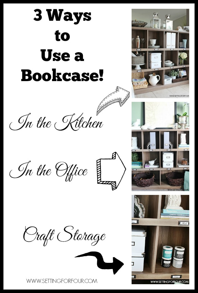 Home Storage and Decor Idea: 3 Ways to Use a BOOKCASE for storage and organization- in a kitchen, office, craft room to declutter and organize your life!
