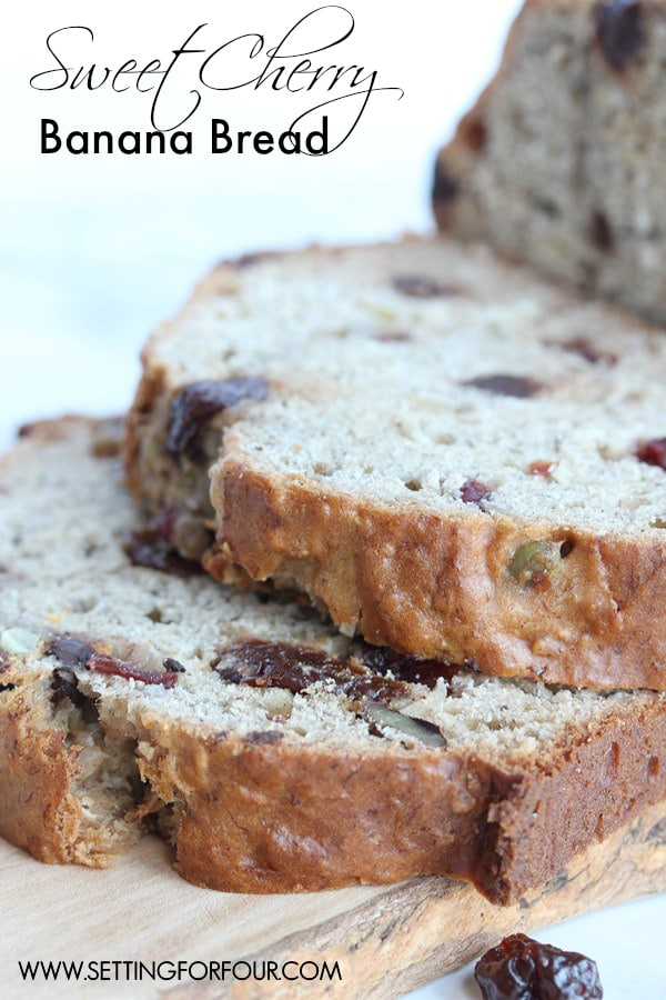 Make this delicious Sweet Cherry Banana Bread Recipe - delicious with a cold glass of milk! www.settingforfour.com