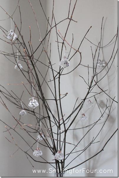 Winter Wedding Idea - Sparkly Branch Centerpiece from Setting for Four #diy #tutorial #wedding #winter #decor #centerpiece