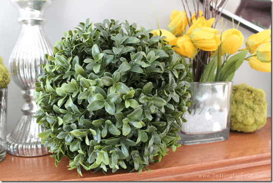 How to Decorate a Mantle for Spring using color and natural accents -  DIY decor tips and tricks!