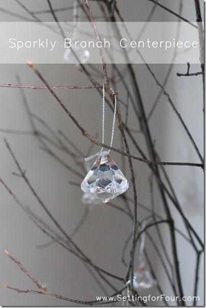 DIY Winter Party Centerpiece Idea from Setting for Four #decor #winter #party #diy #tutorial #centerpiece