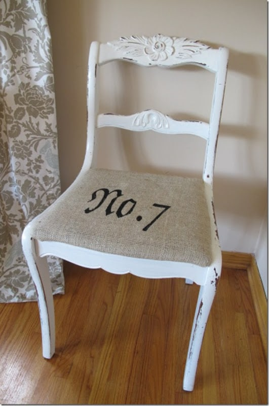 Burlap and Stencil Chair