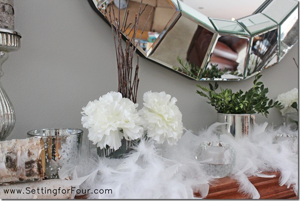 Decorating Ideas for a winter mantle from Setting for Four #decor #tips #winter #mantle #diy