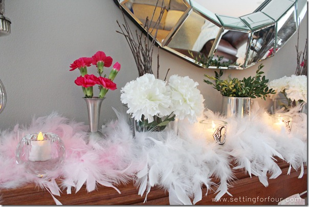 How to decor ideas for a Beautiful Mantle for Valentine's Day from Setting for Four.  See how to here! https://www.settingforfour.com/2013/02/how-to-decorate-mantle-for-valentines.html  #mantle #valentine #diy #decor