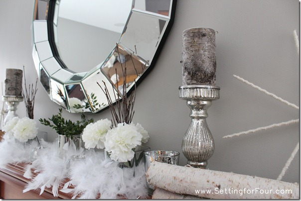 Birch logs and Mercury Glass for a Winter Mantle from Setting for Four #birch #mercury #glass #decor #mantle
