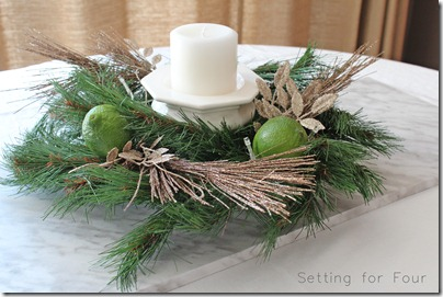 Dollar Store Christmas Centerpiece from Setting for Four #diy #tutorial #christmas #dollarstore #kitchen #centerpiece #candle