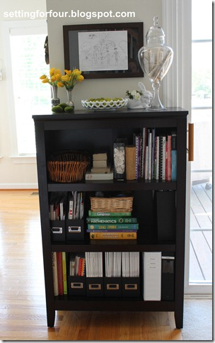 How to Organize; Bookcase Family Organizer from Setting for Four. See how here: https://www.settingforfour.com/2012/04/bookcase-family-organizer.html #bookcase #oraganize #shelf