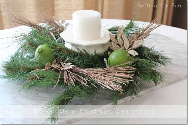 Dollar Store Christmas Centerpiece Setting For Four