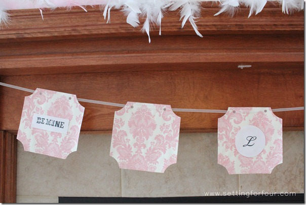 DIY Handmade Valentine Banner from Setting for Four. See how to here! https://www.settingforfour.com/2013/02/how-to-decorate-mantle-for-valentines.html  #mantle #valentine #diy #decor