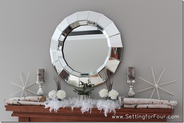 Winter Mantle Decorating Idea from Setting for Four #winter #mantel #decor #tips #diy