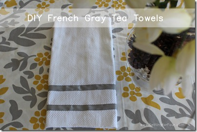French Gray Trimmed Tea Towel from Setting for Four #diy #tutorial #french #gray #towel #ribbon