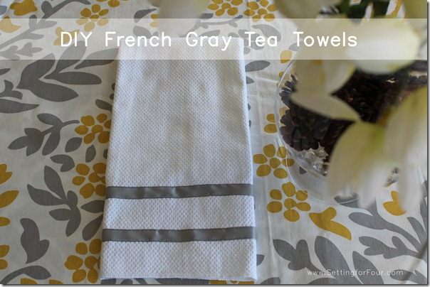 Make these pretty DIY Ribbon Trimmed Kitchen Towels! Decorate your kitchen with these quick and easy tea towels. Tutorial and supply list included. Great gift idea too!