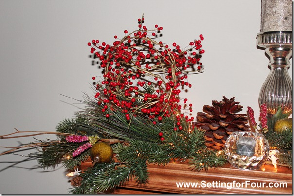 Red, White and Sparkly Christmas Mantle from Setting for Four #Christmas #Mantle #Holiday #Red #White