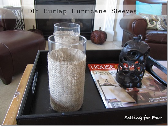 DIY Burlap Hurricane Sleeves from Setting for Four. #diy #burlap #hurricane