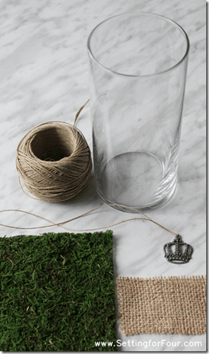 Supplies to make a DIY Moss Covered Vase from Setting for Four. #diy #decor #vase #moss