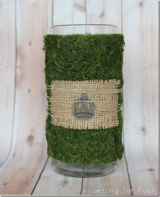 How to Decorate a Vase using moss from Setting for Four. #decorate #vase #moss