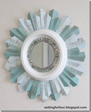 DIY Beaded Sunburst Mirror from Setting for Four #diy #tutorial #mirror #sunburst #scrapbook #paper #bead