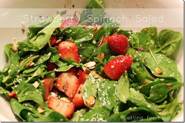 Strawberry Spinach Salad Recipe from Setting for Four #Recipe #salad #saladrecipes #spinach #poppyseed