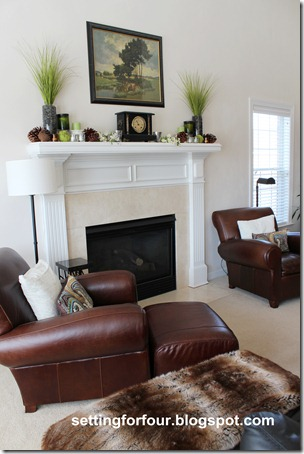Mantel decorating ideas for spring at Setting for Four.  See it all here: https://www.settingforfour.com/2012/03/my-space-spring-fireplace-mantle.html #spring #mantel #decor