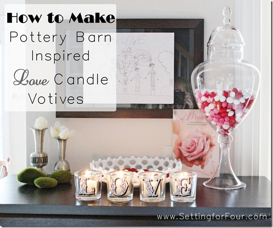 How to make a DIY Pottery Barn Knock off Valentine's Candle Votive Set! An easy Mod Podge Craft. Great Gift idea for Valentine's Day , birthdays and more!