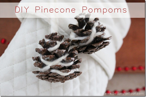DIY Holiday Glitter Pinecone Pompoms from Setting for Four #diy #tutorial #glitter #glamour #pompom #pinecone #holiday #christmas