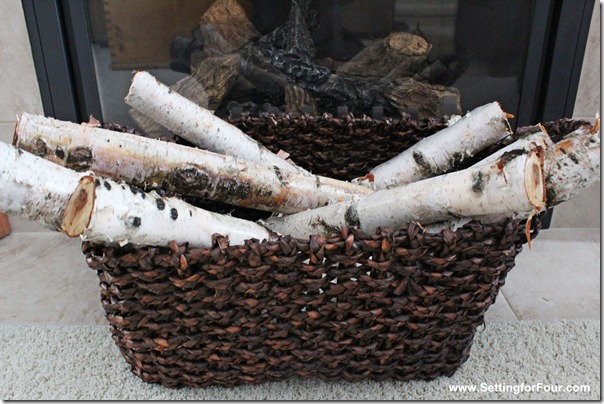 Basket Birch logs from Setting for Four #Christmas #Holiday #birch #basket