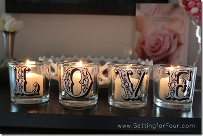 Pottery Barn Knockoff Love Votive Candle Set from Setting for Four #diy #tutorial #potterybarn #knockoff #candle #votive #valentine