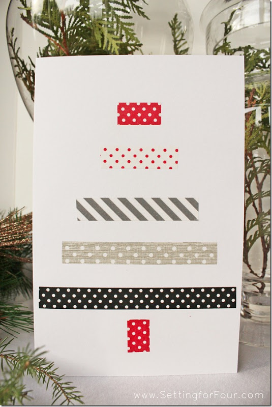 Learn how to make an easy DIY Christmas Card with a fun Washi Tape Christmas tree design! See the DIY craft project and supplies to make this quick holiday greeting card!