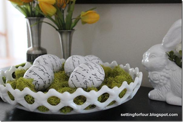 DIY French Script Easter Eggs from Setting for Four #modpodge #diy #tutorial #french #decor #script #easter #egg #ballard