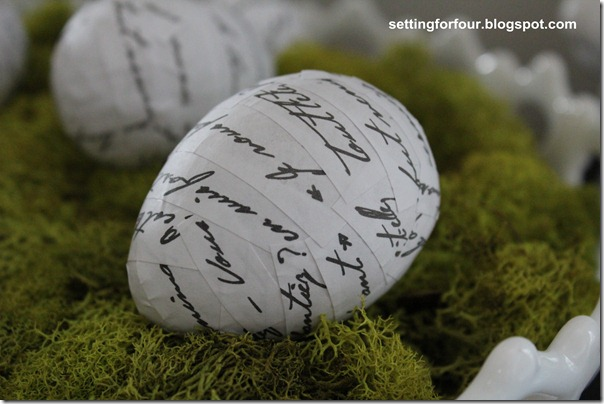 DIY French Script Easter Eggs from Setting for Four #modpodge #diy #tutorial #french #decor #script #easter #egg #ballard