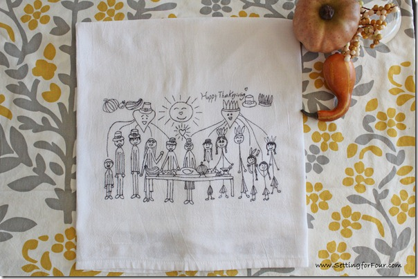 Cute Teacher Gift Idea to make with the kids! Turn kids art into tea towels for Thanksgiving and Fall! See this easy DIY tutorial to make a few for gifts and for your kitchen!