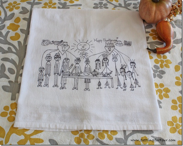 Fall and Thanksgiving Kids Craft Idea! This is a Fun and Easy DIY project to turn all of those piles of kids art into memorable gifts and cheery decor! How to turn kids art into tea towels.