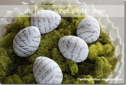 DIY French Script Easter Eggs from Setting for Four #diy #tutorial #french #easter #egg #script #modpodge