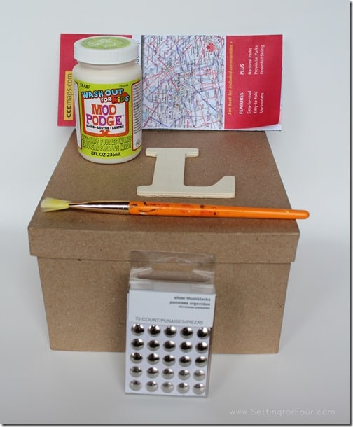 Supplies for Monogram Map Box from Setting for Four