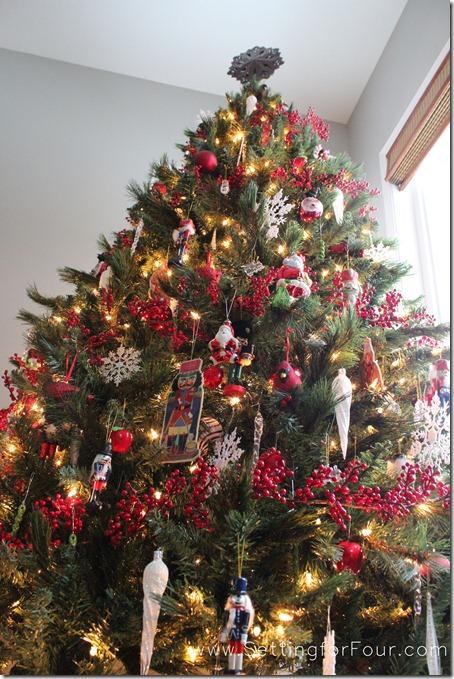 Red and white Christmas tree from Setting for Four #Christmas #Tree #Red #White #Holiday