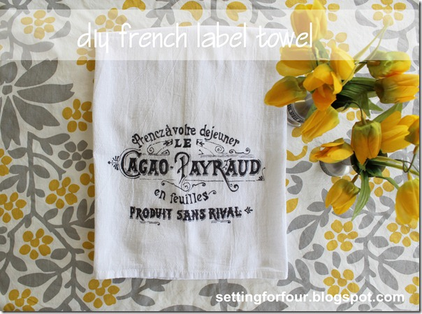 Love French Decor? Make this DIY Sharpie tea towel with a Vintage French Advertisement label. Beautiful DIY gift idea for the holidays and home decor for your kitchen!