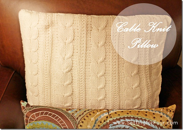 Cable Knit Pillow from Setting for Four #knit #pillow #winter #decor #PotteryBarn #white
