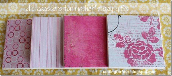DIY Coasters for Mother's Day Gifts from Setting for Four #diy #tutorial #coaster #gift #scrapbook #paper #Michaels