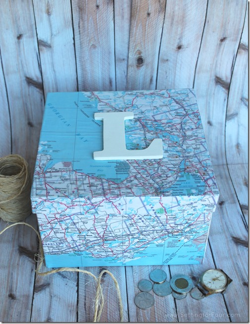 DIY Monogram Map Storage Box. Use maps of places you've lived in and travelled to! Great gift idea!