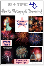 See how to take perfect fireworks photos at night - photography tips! Camera and cell phone tips and tricks!