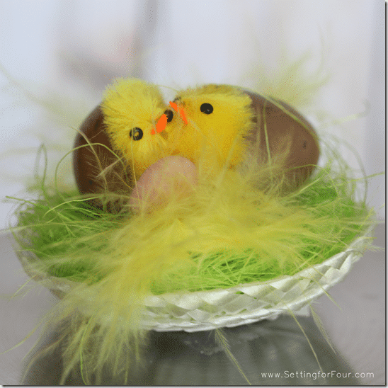 Dollar Store Chicks in nest - Setting for Four #easter #dollar #gift